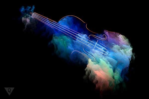 Музика намальована абстрактними фарбами і музичним інструментом