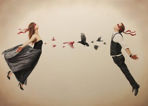 Жінку і чоловіка тягне один до одного. арт малюнок